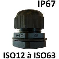 Presse étoupes noir ISO IP67 + contre écrou M12 - Ø 3 -6,5mm - Perçage 12,5mm
