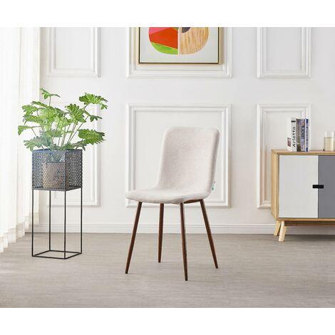 MARCO - Chaise Scandinave en Tissu Beige - Style Contemporain - Salle à Manger, Cuisine, Salon, Chambre
