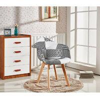 Chaise Scandinave en Tissu Patchwork avec Accoudoirs - Coloris Noir & Blanc - Salle à Manger, Cuisine, Bureau
