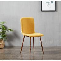MARCO - Chaise Scandinave en Tissu Jaune - Style Contemporain - Salle à Manger, Cuisine ou Bureau