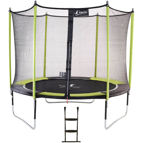 Trampoline de jardin 305 cm + filet de sécurité + échelle JUMPI Vert/Noir 300 - Vert