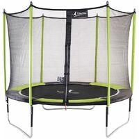 Trampoline de jardin 305 cm + filet de sécurité JUMPI Vert/Noir 300 - Vert