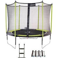Kangui - Trampoline de jardin 305 cm + filet de sécurité + échelle + kit d'ancrage JUMPI Vert/Noir 300 - Vert