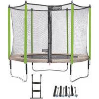 Trampoline de jardin 305 cm + filet de sécurité + échelle + kit d'ancrage JUMPI Taupe/Vert 300 - Vert