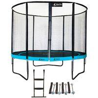 Trampoline de jardin rond 305 cm + filet de sécurité + échelle + kit d'ancrage PUNCHI Bleu 300 - Bleu