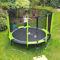 Trampoline de jardin 426 cm + filet de sécurité + échelle + bâche de protection + Kit ancrage JUMPI Vert/Noir 430 - Vert