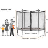 Trampoline de jardin 305 cm + filet de sécurité + échelle + bâche de protection JUMPI Vert/Noir 300 - Vert