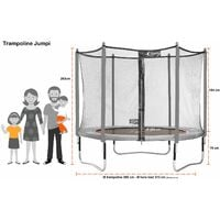 Trampoline de jardin 305 cm + filet de sécurité + échelle JUMPI Taupe/Vert 300 - Vert