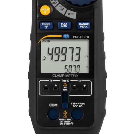 Messzange PCE-DC 50 mit Echteffektivwertmessung / viele Messfunktionen