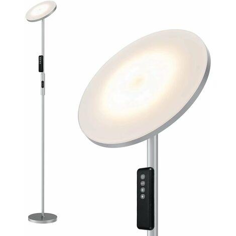 Lampadaire Sur Pied 20W, Lampadaire Droit LED Salon Dimmable 3000-5000K Lumière à Volonté, Télécommande&Tacile, Moderne Lampe Sur Pied Chambre Bureau - Gris [Classe énergétique A++]