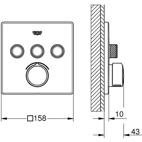 Mitigeur encastré Grohe SmartControl, trois vannes d'arrêt, rosette carrée - 29149000