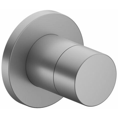 Racor Keuco IXMO 59557, válvula de cierre y de conmutación empotrable de 2 vías, roseta redonda, maneta Puro, color: acabado en aluminio - 59557170001