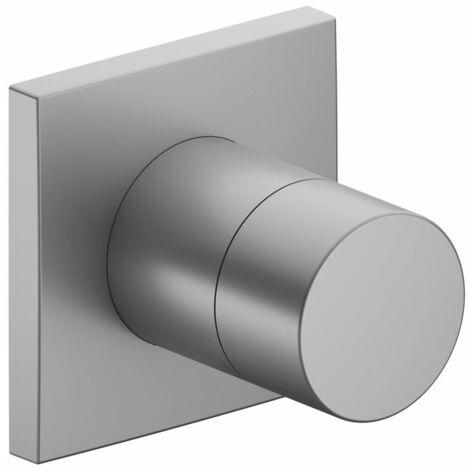 Racor Keuco IXMO 59557, válvula de cierre y de conmutación empotrable de 2 vías, roseta cuadrada, maneta Puro, color: acabado en aluminio - 59557170002