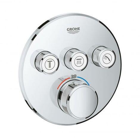 Termostato Grohe Grohtherm SmartControl con tres válvulas de cierre, rosetón de pared redondo, color: cromado - 29121000