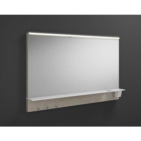 Espejo retrovisor Burgbad Eqio iluminado con luz superior horizontal LED y balda SEZQ120, anchura: 1200 mm, conjunto: Roble Decor Flanelle - SEZQ120F2632