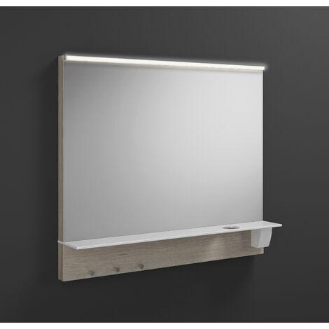 Espejo retrovisor iluminado Burgbad Eqio con luminaria superior horizontal LED y balda SEZQ090, anchura: 900 mm, conjunto: Roble Decor Flanelle - SEZQ090F2632
