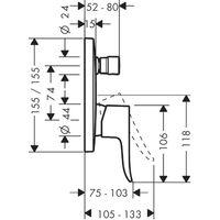 Mezclador monomando Hansgrohe Metris para bañera empotrado 31454000 cuadrado - 31454000