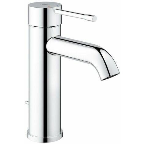 Miscelatore monocomando per lavabo Grohe Essence, dimensione S, esecuzione monoforo, con scarico, colorazione: super acciaio - 23589DC1