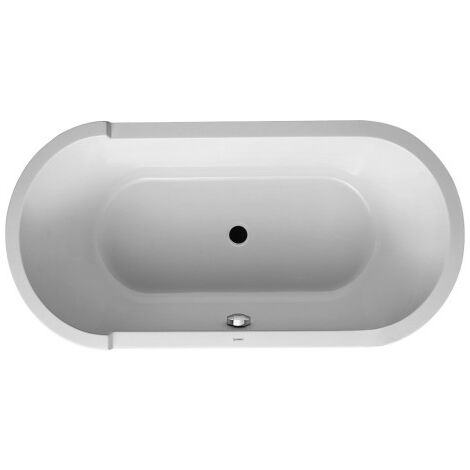 Vasca da bagno ovale Duravit Starck 160x80cm, con fondo inclinato, 700409, con rivestimento e struttura in acrilico. - 700409000000000