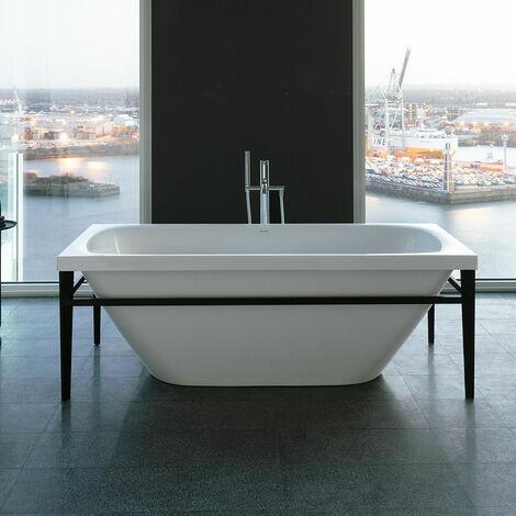 Vasca da bagno Duravit Xviu 700444, 1600x800x400x460 mm autoportante, con rivestimento e cornice in acrilico, con speciale scarico e dispositivo di troppopieno., colorazione: Nero opaco - 700444000B20000