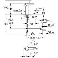 Miscelatore monocomando per lavabo Grohe Linear, dimensione S, senza set di scarico, colorazione: super acciaio - 23106DC1