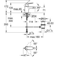 Miscelatore per lavabo Grohe Eurosmart Cosmopolitan 2 fori, montaggio a parete, sporgenza a parete 172mm, set pronto per il montaggio - 19381000