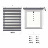 Estor Noche y Día, estor enrollable con doble tejido Plata, 60 x 180cm