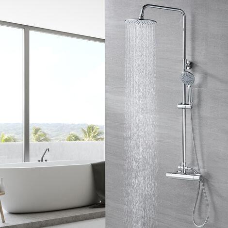 Lonheo Duschset Duschsystem ohne Armatur, Regendusche Duschsäule mit 10 inch Kopfbrause, Handbrause und Umstellung, Duschstange Dusche Duscharmatur für die Wandmontage