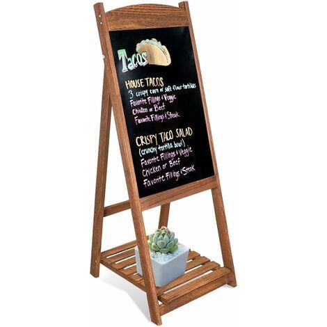 Panneau Publicitaire en Bois Tableau Noir Magnétique Sur Pied Ardoise Chevalet Pour Restaurant/Café/Bar/Bistrot 110 x 44cm - Marron