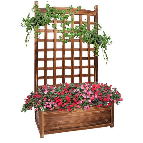 UNHO Potager en Bois avec Treillis - Bac de Fleurs Jardinière - 64x35x115cm - pour Plantes Grimpantes Rosier Clématite