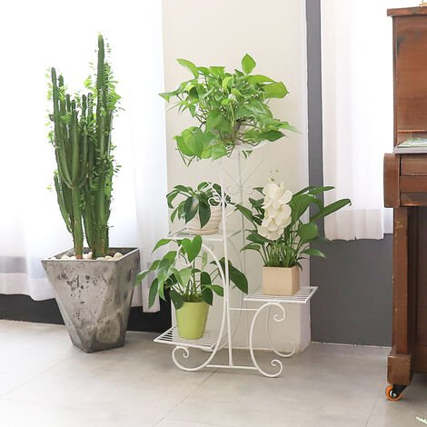 Étagère à Fleurs en Fer Forgé - Porte Plante Echelle - Escalier pour Jardin Balcon Terrasse - 50 x 82cm - Blanc