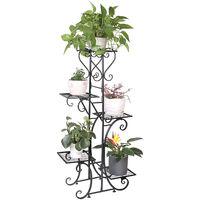 Porte Plantes Fer Forgé 107x57x22cm Étagère Plante Fleur Extérieur Intérieur Escalier Fleurs pour Maison Balcon Terrasse Jardin - Charge Max 50kg