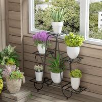 Étagère à Fleurs Fer Forgé - Porte Plante Intérieur 77×26×72cm Echelle Escalier Pour Jardin Balcon Terrasse