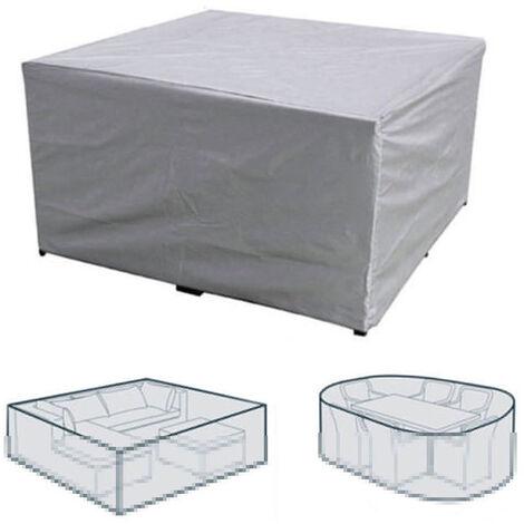 Table et chaise de jardin de cour exterieure couverture impermeable et anti-poussiere argent 213 * 132 * 74