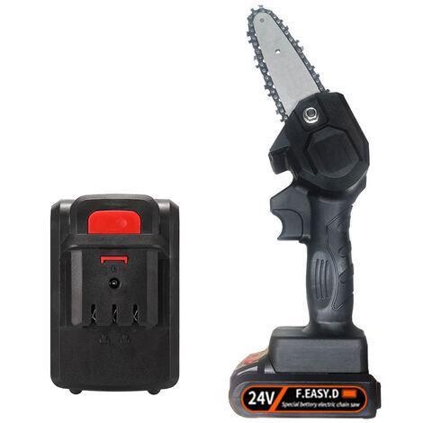Scie d'elagage electrique portable, petite scie electrique rechargeable, 24V, deux batteries et une charge, livree avec batterie, EU 220V