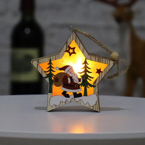 Sapin de Noel en bois lumineux vieil homme bonhomme de neige cerf scene decoration pendentif [vieil homme etoile a cinq branches]