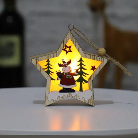 Sapin de Noel en bois lumineux vieil homme bonhomme de neige cerf scene decoration pendentif [Cerf etoile a cinq branches]