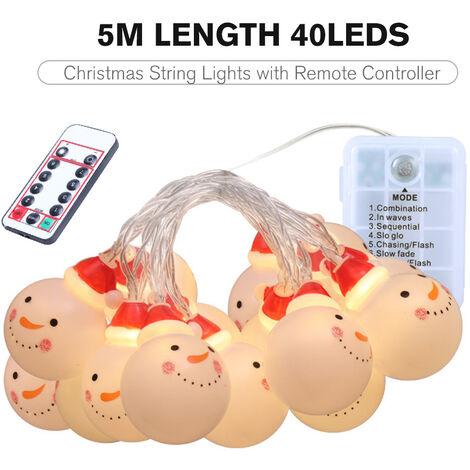 Guirlande lumineuse LED bonhomme de neige de Noel 5 metres de long / 40Leds, Avec telecommande, 8 types