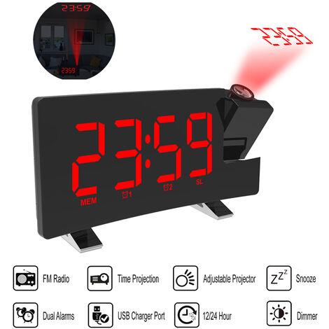 Horloge de projection multifonction Reveil sans fil FM LED Horloge de projection FM Port de chargement USB, rouge