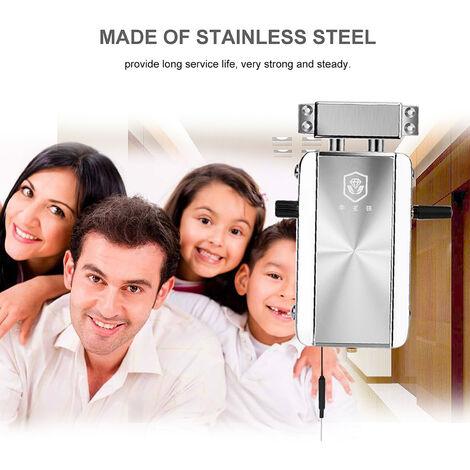 Serrure de porte anti-vol invisible intelligente Bluetooth livree avec batterie assortie Version Bluetooth argentee, avec 2 telecommandes