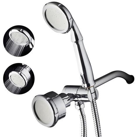 Pomme de douche encastree monofonction Silver JK-2999 avec tuyau + ensemble de douche a main (pomme de douche + douchette a main + coude dissimule + tuyau de 1,5 m + support)