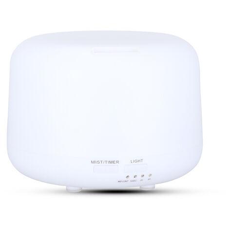 Humidificateur 300 ml grande capacite (avec telecommande) silencieux, avec lumiere LED, tout blanc, norme europeenne