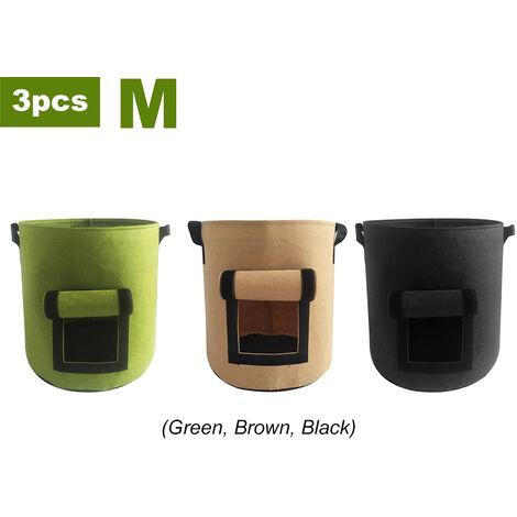 Sac de plantation de pommes de terre Sac de croissance de plantes epaississant en feutre non tisse 3 pieces (vert, noir, marron), moyen