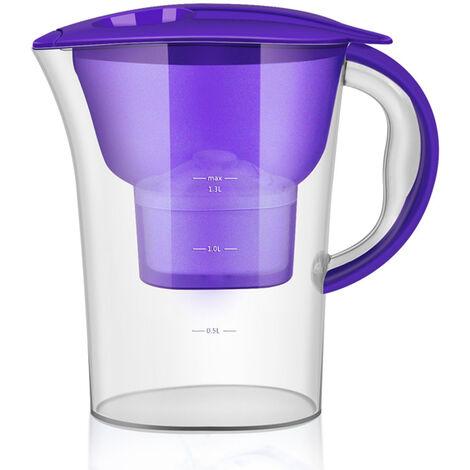 Bouteille d'eau transparente de 2,5 L, purificateur d'eau domestique, filtre a eau a charbon actif XL-001,violet