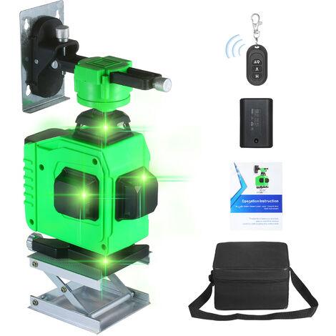 Niveau laser 16 lignes 4 faisceaux de lumiere verte haute intensitea 360 degres, norme europeenne