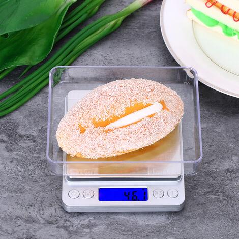 Balance electronique de cuisine en acier inoxydable de haute precision pour la cuisson avec 2 plateaux, sans piles, 3 000 g / 0,1 g