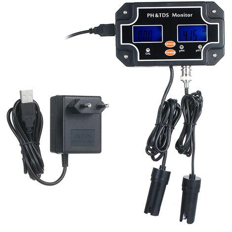2 en 1 testeur de qualite de l'eau testeur PH / TDS retro-eclairage etanche testeur double affichage noir EU PH / TDS-2683