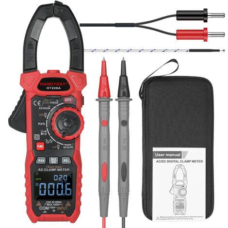 Pince multimetre numerique multifonction AC HABOTEST, multimetre apince aplage automatique RMS veritable modele HT208A expedition sans batterie