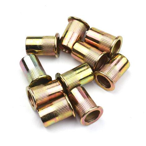 ecrou asertir aveugle en acier inoxydable Capuchon de tirage en zinc de couleur Tete plate Capuchon de tirage d'ecrou de rivet vertical, 10 pieces M10