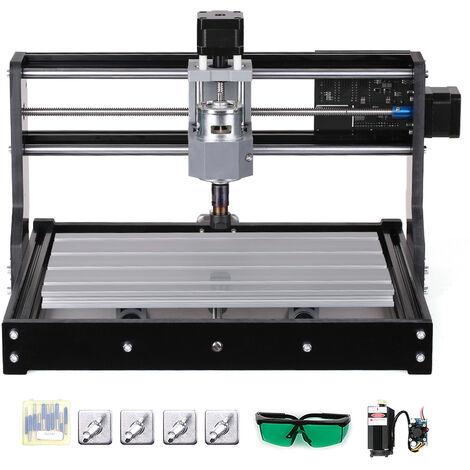 Mini machine de gravure, commande laser et moteur 2-en-1 CNC3018PRO avec mandrin moteur ER11 + lunettes + tete laser 5500 mw Petite norme europeenne